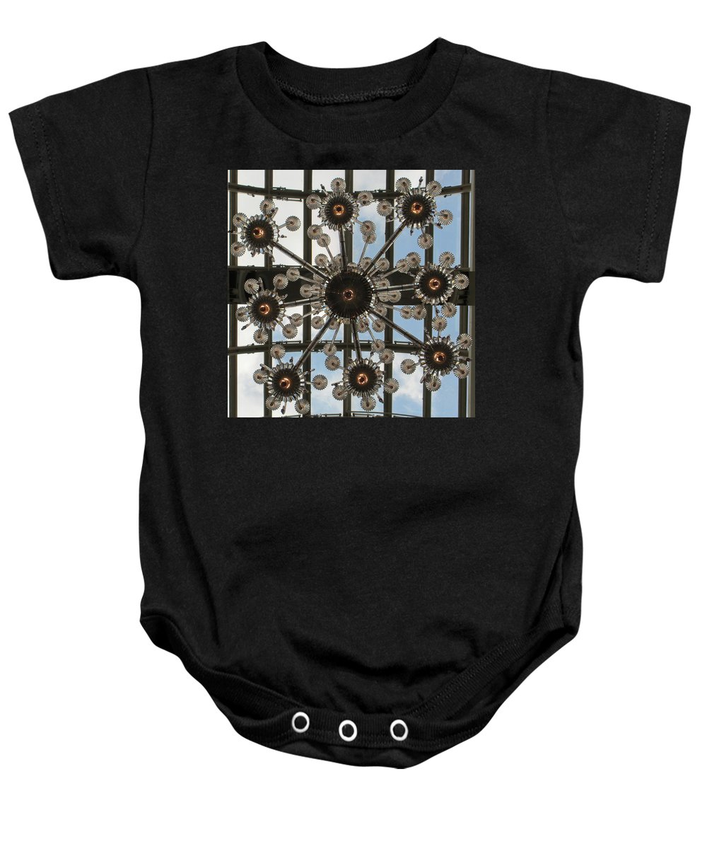 Chandelier Baby Onesie featuring the photograph Nice France Mall 01 by Annette Hadley