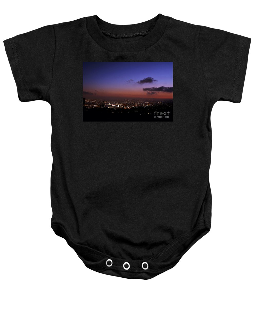 Clay Baby Onesie featuring the photograph Night At Griffeth Observatory by Clayton Bruster