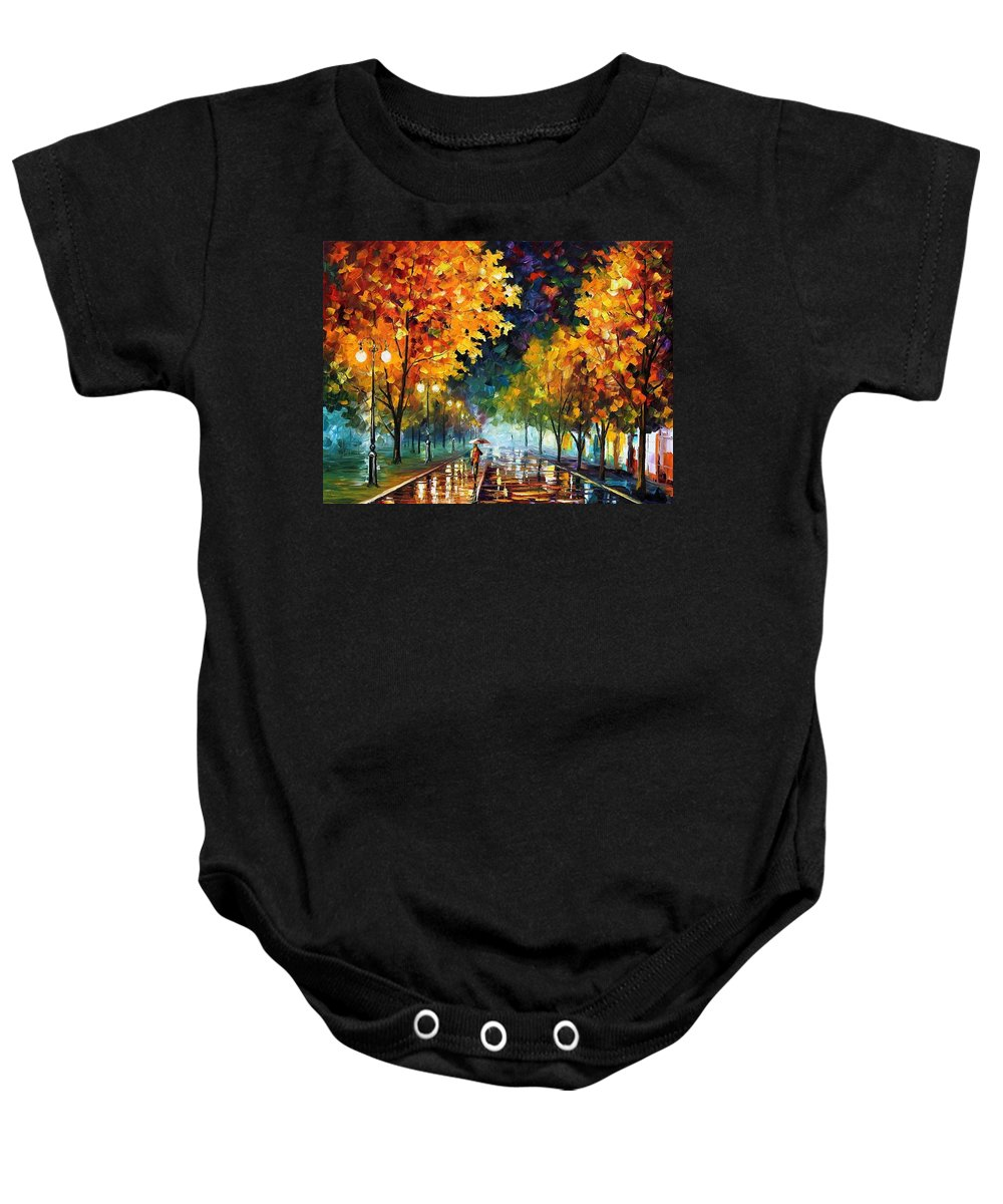 Afremov Baby Onesie featuring the painting Night Autumn Park by Leonid Afremov