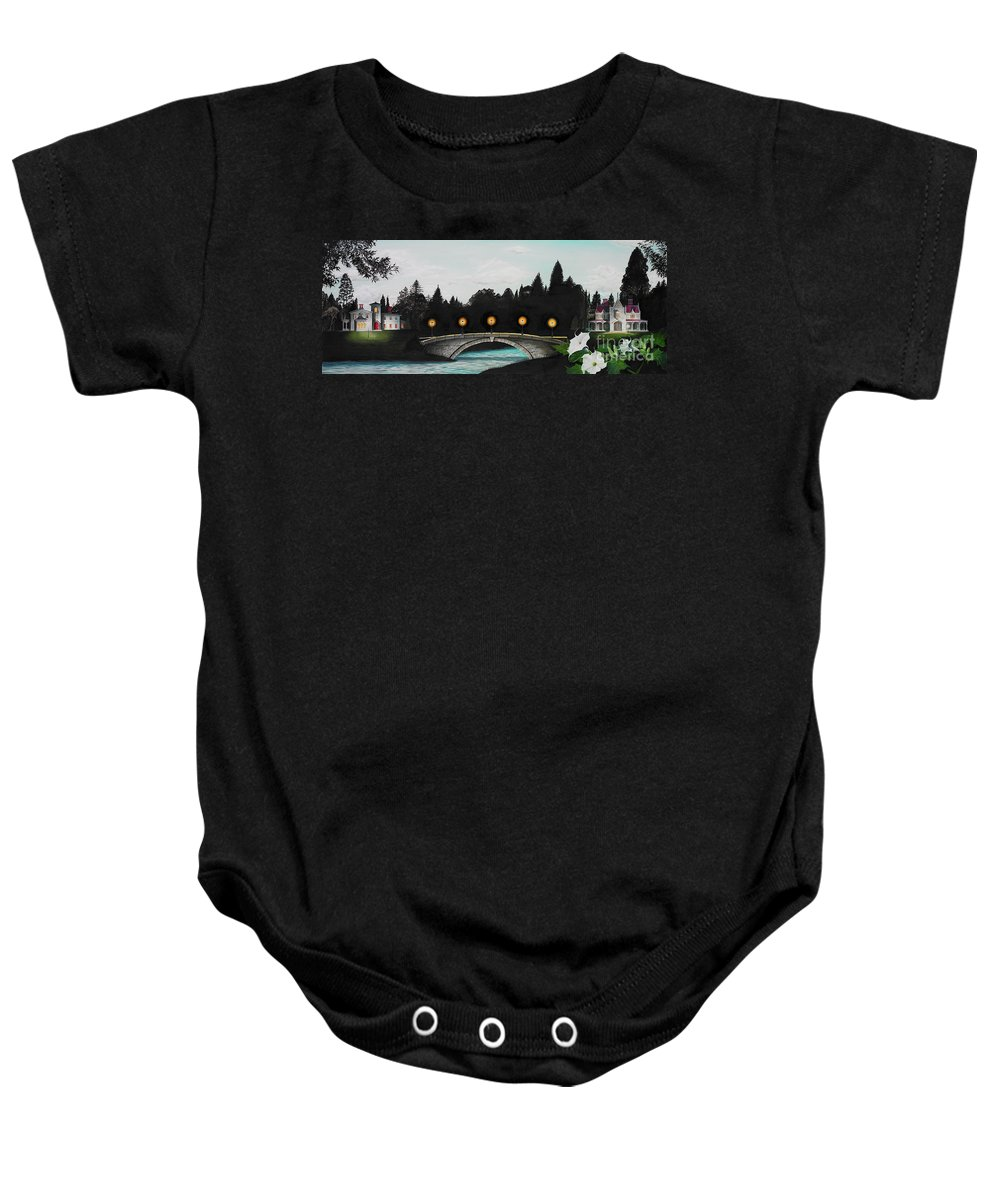 Architecture Baby Onesie featuring the painting Night Bridge by Melissa A Benson