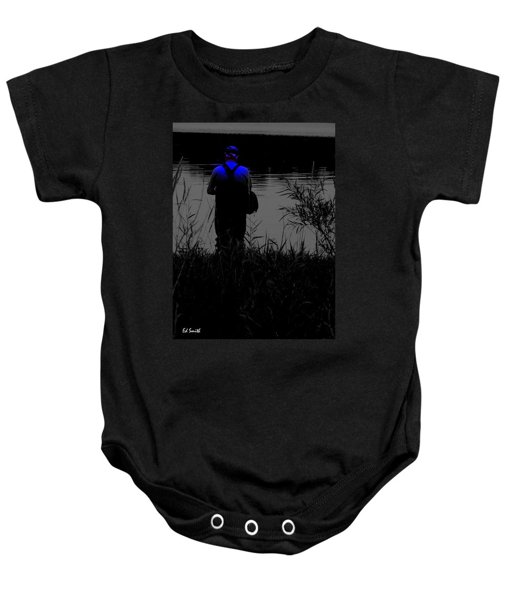The Night Fisherman Baby Onesie featuring the photograph Night Fisherman by Ed Smith