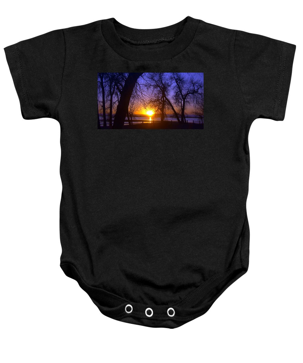 Barr Lake Baby Onesie featuring the photograph Night In Barr Lake Colorado by Merja Waters