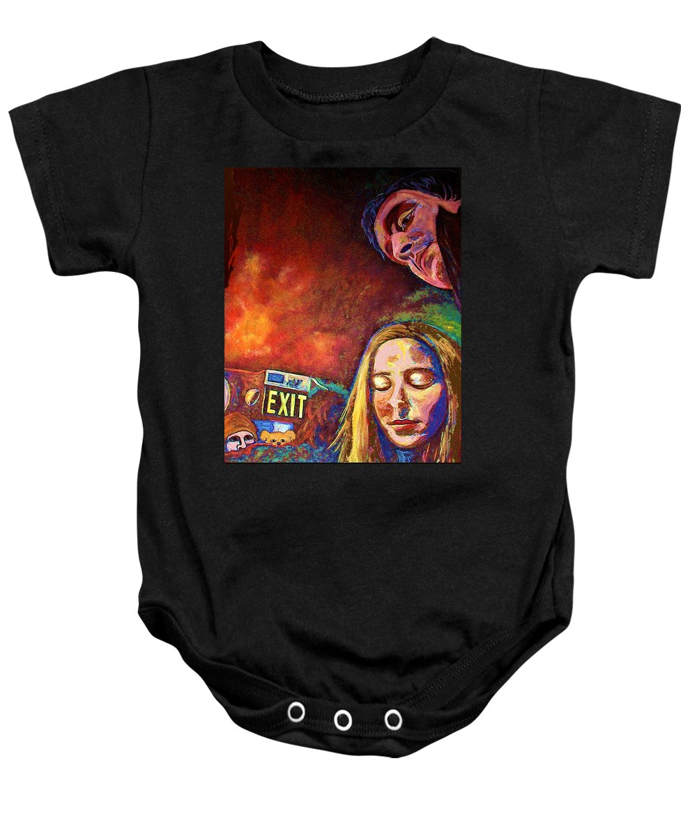 Girl Portrait Baby Onesie featuring the painting Night In The City by Frances Gillotti