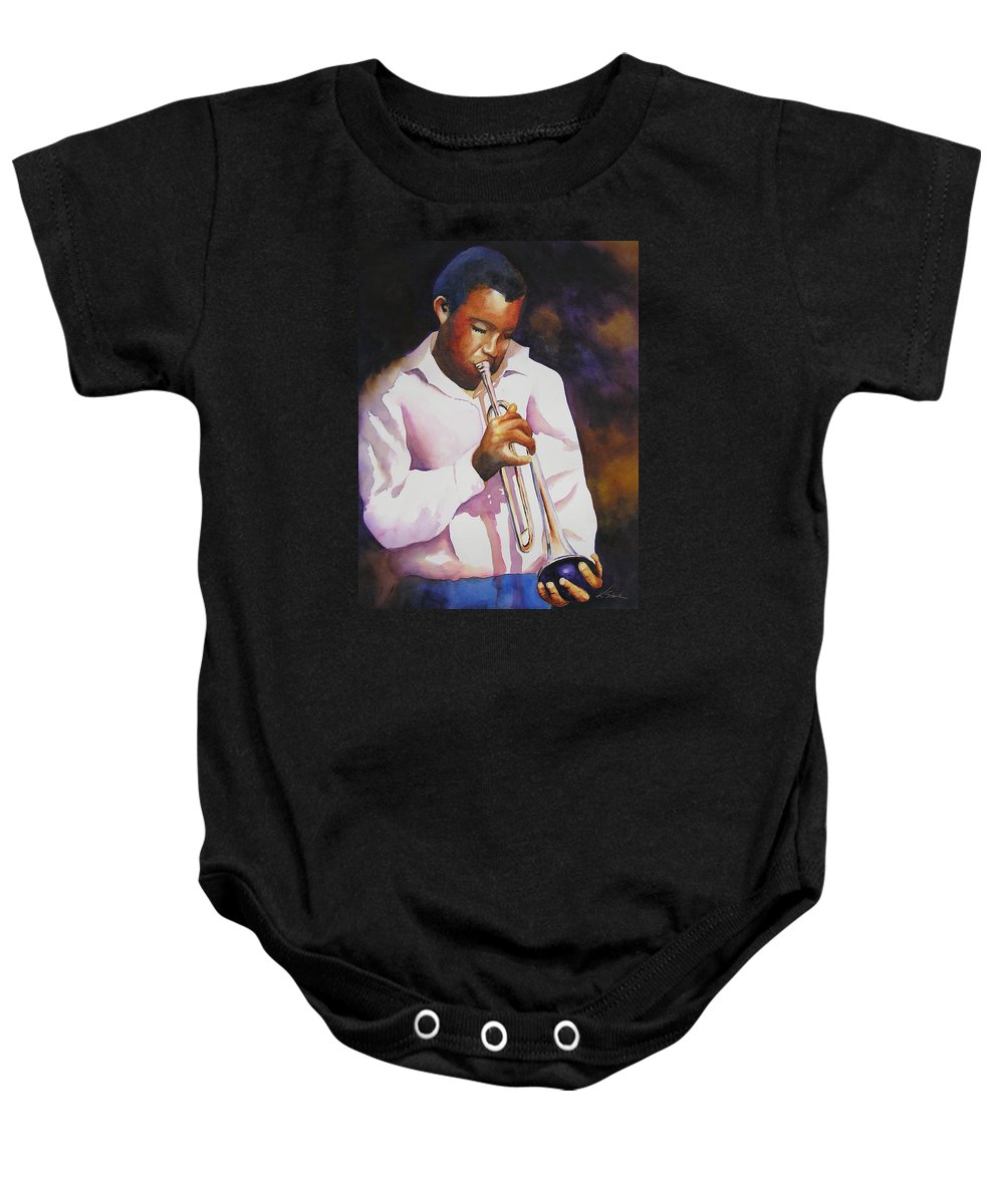 Trumpet Baby Onesie featuring the painting Night Music by Karen Stark