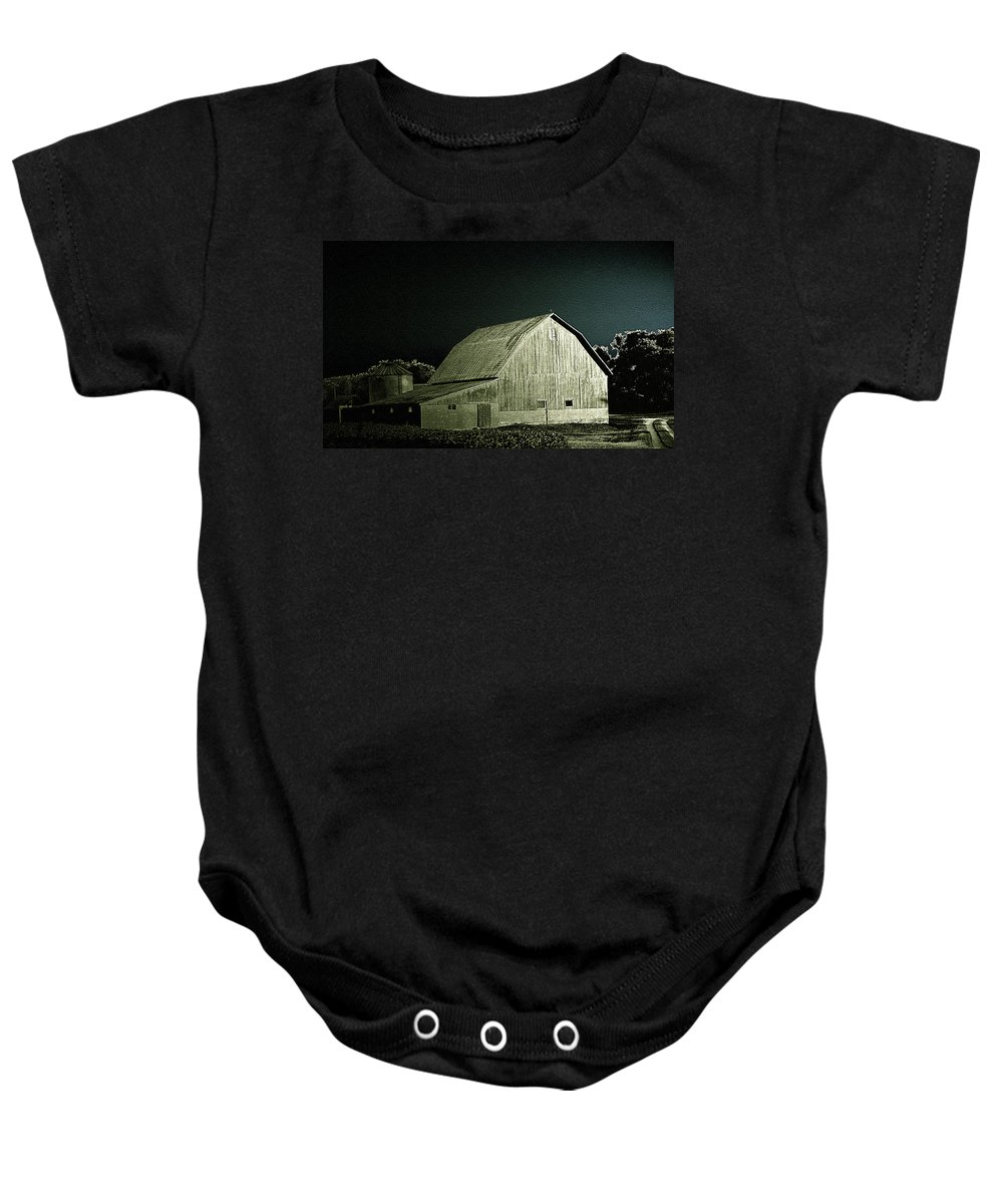 Baby Onesie featuring the photograph Night On The Farm by Jenny Gandert