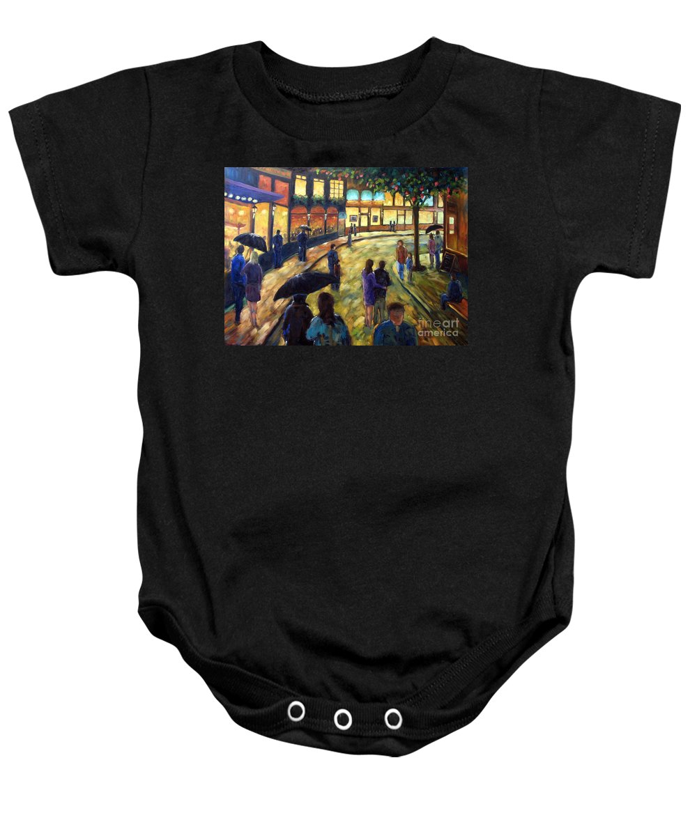 Cityscape Baby Onesie featuring the painting Night On The Town by Richard T Pranke