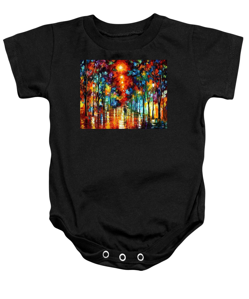Afremov Baby Onesie featuring the painting Night Park by Leonid Afremov