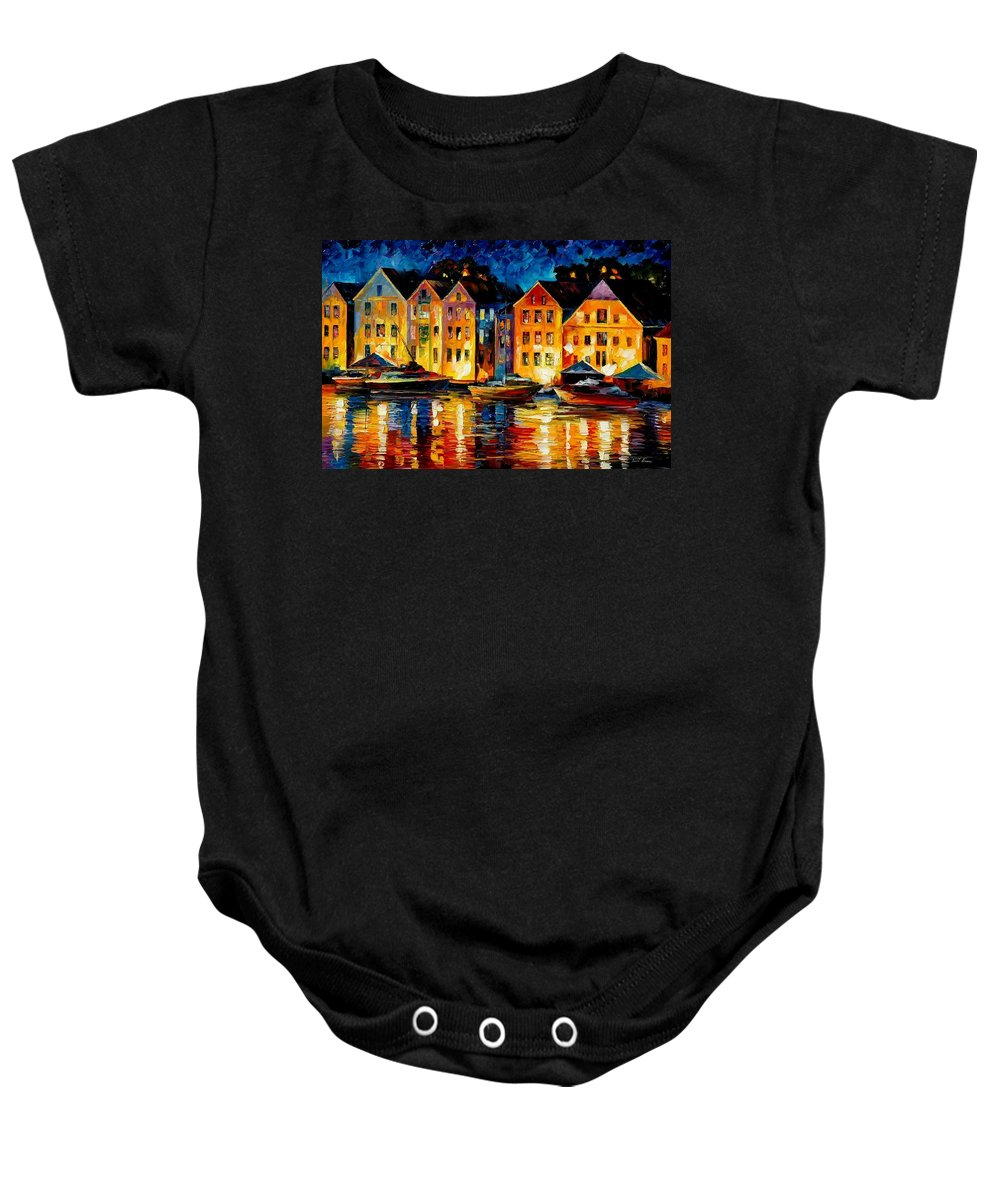 City Baby Onesie featuring the painting Night Resting Original Oil Painting by Leonid Afremov