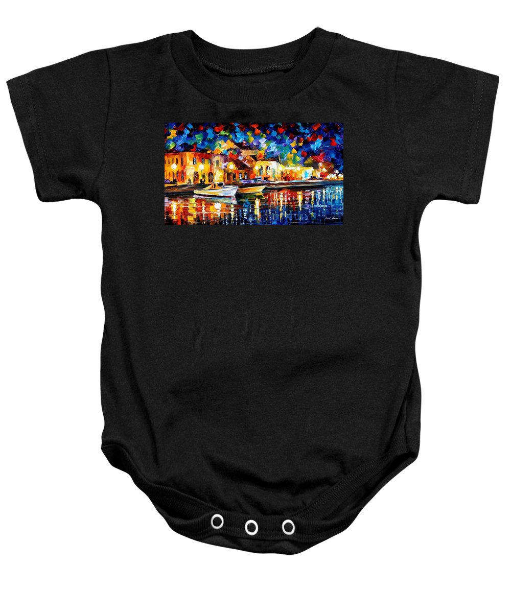Art Gallery Baby Onesie featuring the painting Night Riverfront - Palette Knife Oil Painting On Canvas By Leonid Afremov by Leonid Afremov