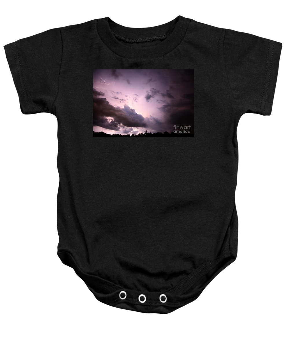 Lightning Baby Onesie featuring the photograph Night Storm by Amanda Barcon