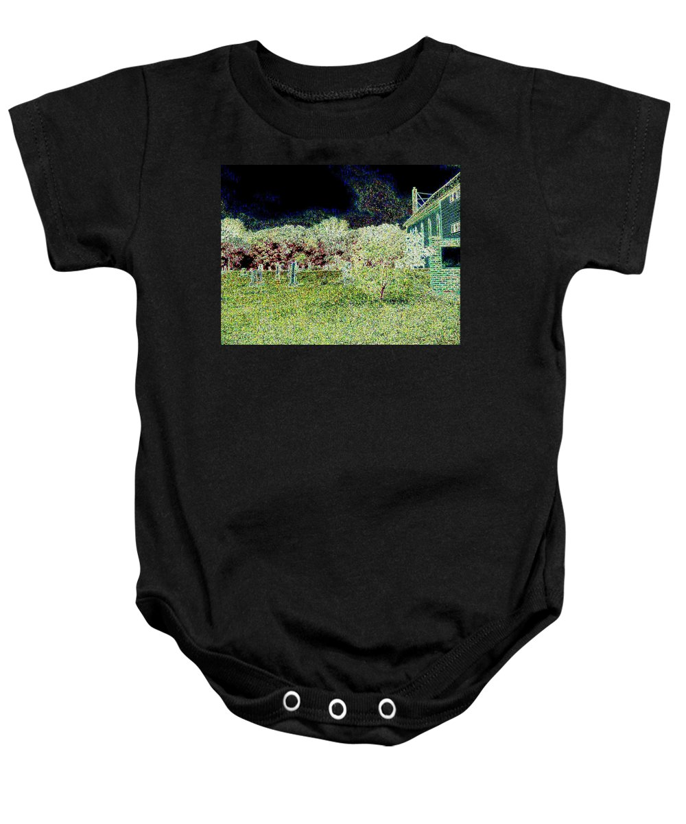 Church Baby Onesie featuring the photograph Nighttime In The Church Graveyard by Curtis Tilleraas