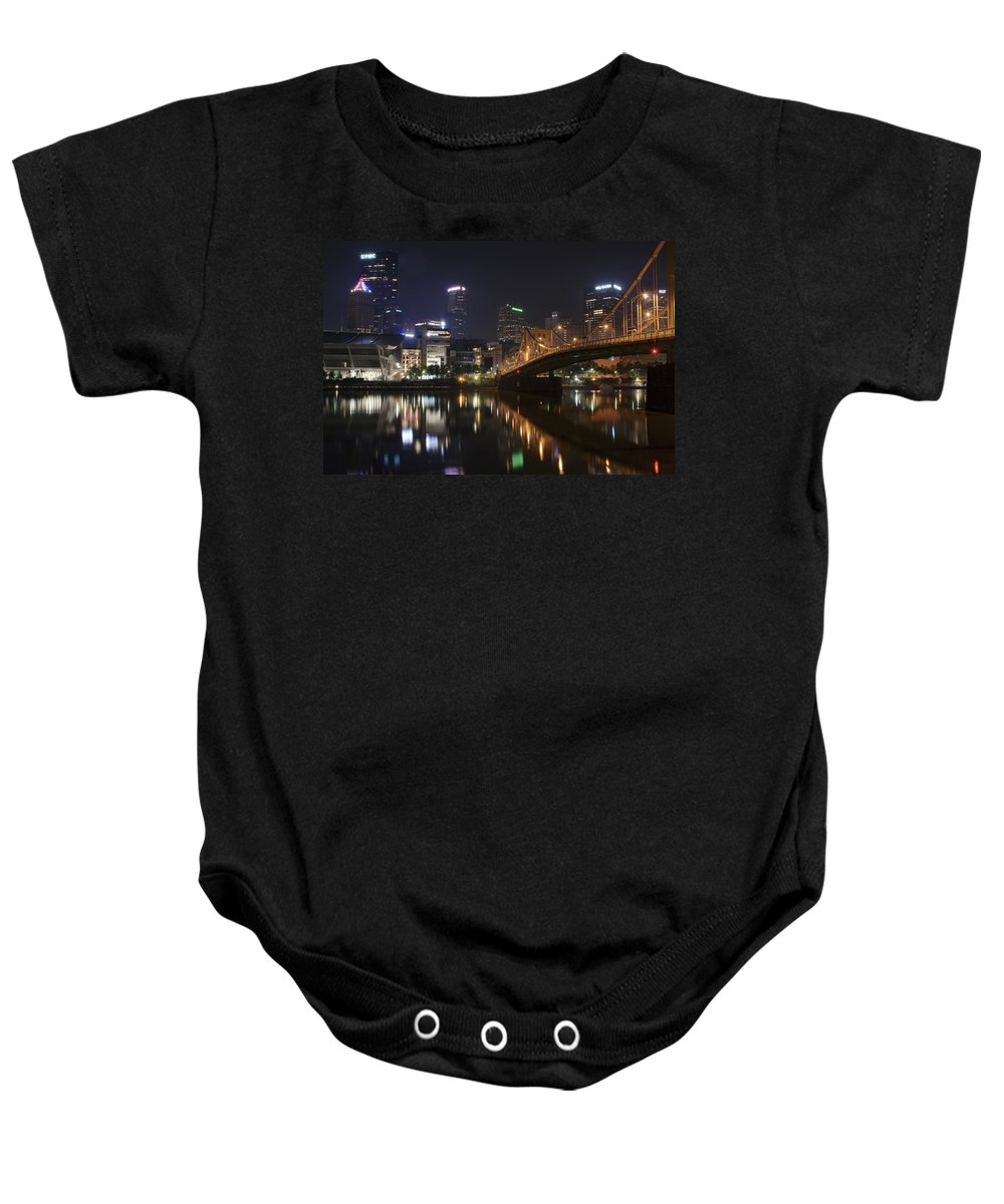 Pittsburgh Baby Onesie featuring the photograph Nighttime In The City by Frozen in Time Fine Art Photography