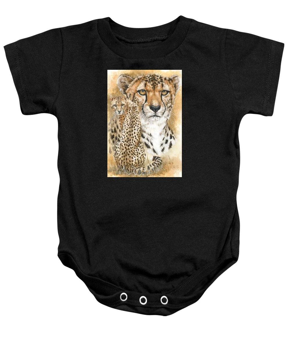 Cheetah Baby Onesie featuring the mixed media Nimble by Barbara Keith