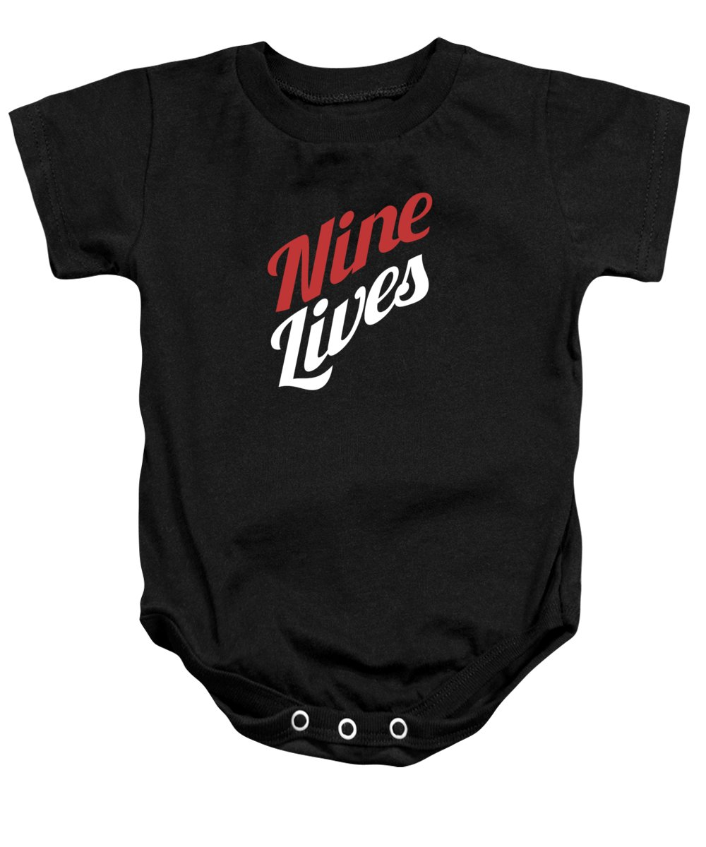 Cat Baby Onesie featuring the digital art Nine Lives Funny Cat Apparel by Michael S