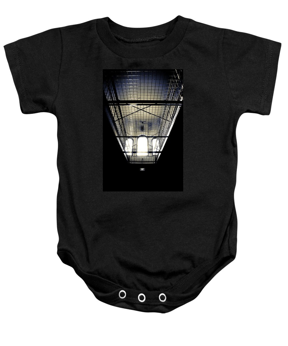 Sign Baby Onesie featuring the photograph No Exit by Kelly King