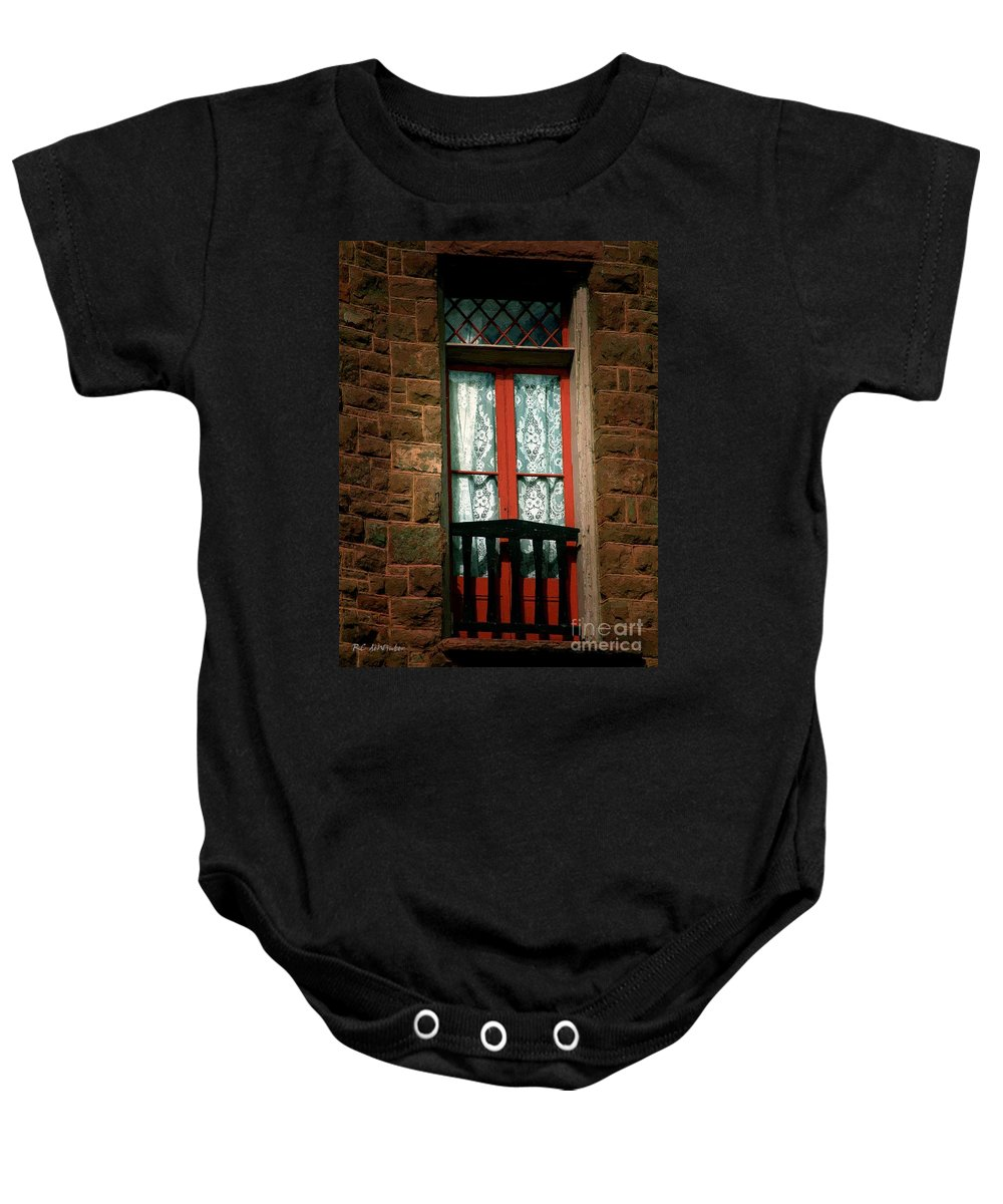 Balcony Baby Onesie featuring the painting No Juliet by RC DeWinter