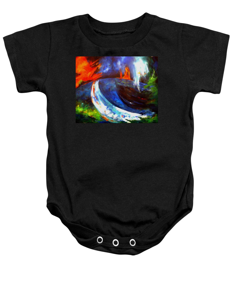 Lively Baby Onesie featuring the painting No Lullaby by Melody Horton Karandjeff
