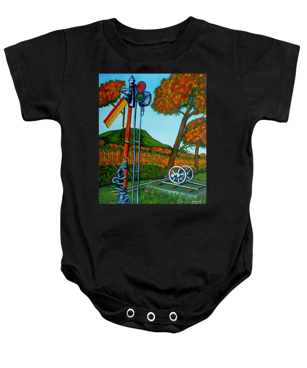 Train Baby Onesie featuring the painting No More Trains by Anthony Dunphy