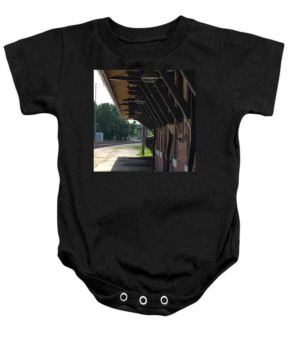 Train Station Baby Onesie featuring the photograph No Sign Of The Train by James Pinkerton