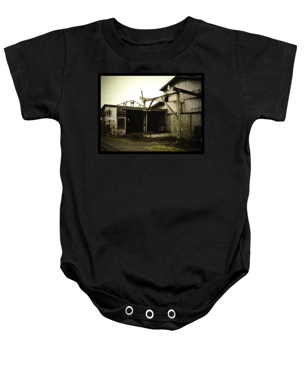 Warehouse Baby Onesie featuring the photograph No Trespassing by Tim Nyberg