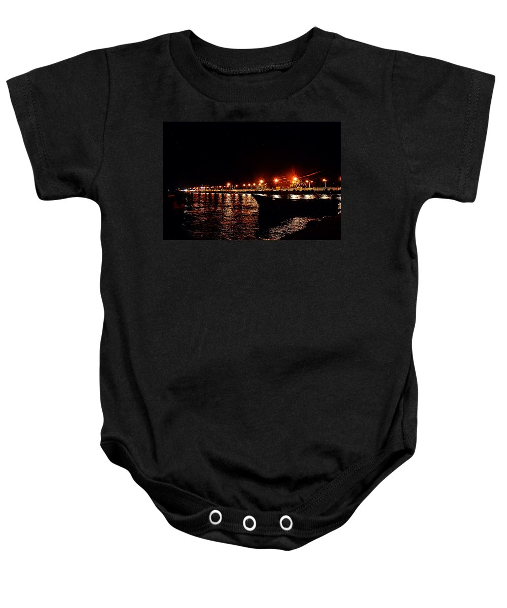 Nocturne Baby Onesie featuring the photograph Nocturne Boat by Galeria Trompiz