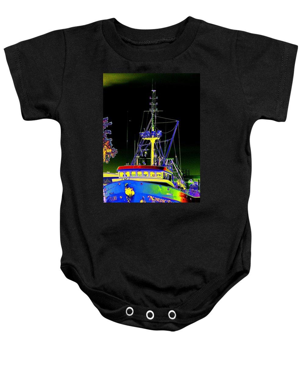 Seattle Baby Onesie featuring the digital art Nordic Fury by Tim Allen