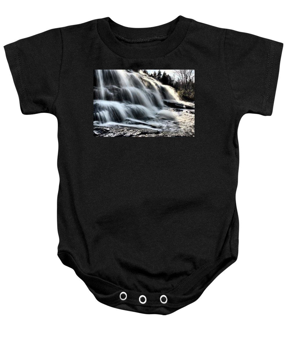 Waterfall Baby Onesie featuring the digital art Northern Michigan Up Waterfalls Bond Falls by Mark Duffy