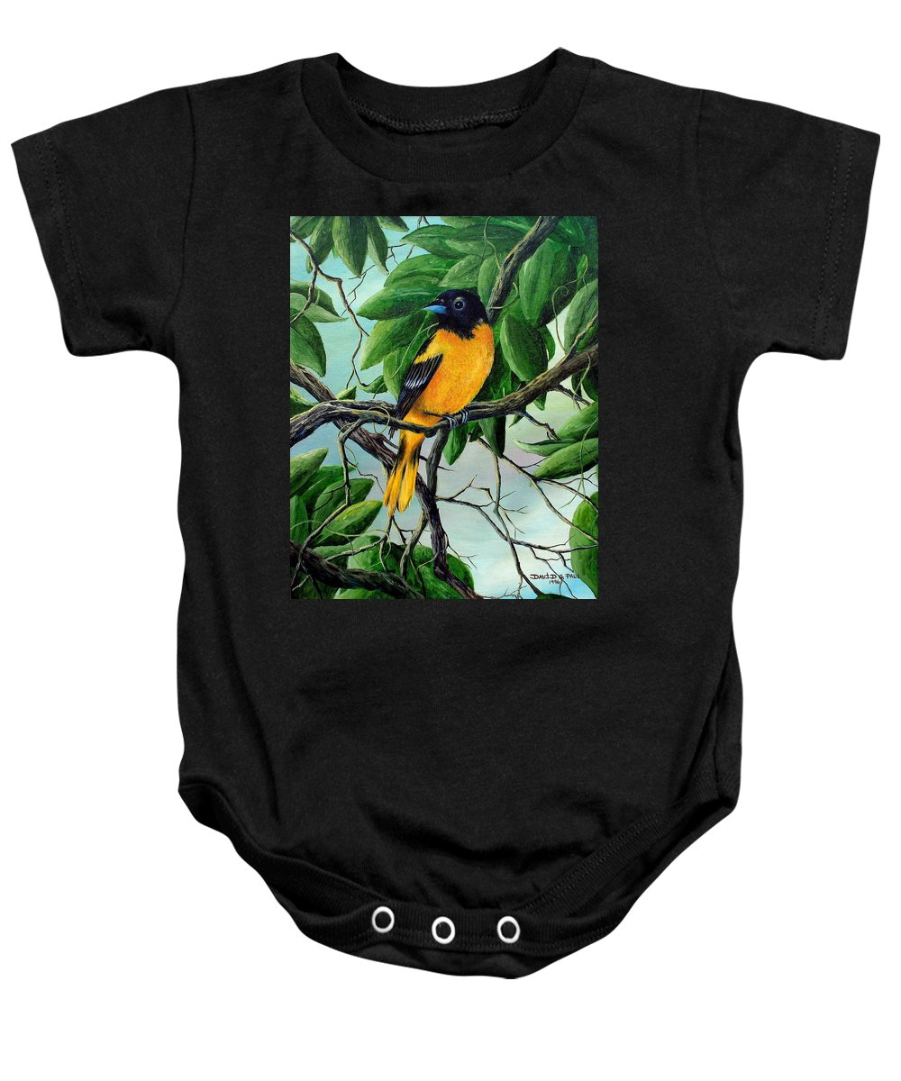 Oriole Baby Onesie featuring the painting Northern Oriole by David G Paul