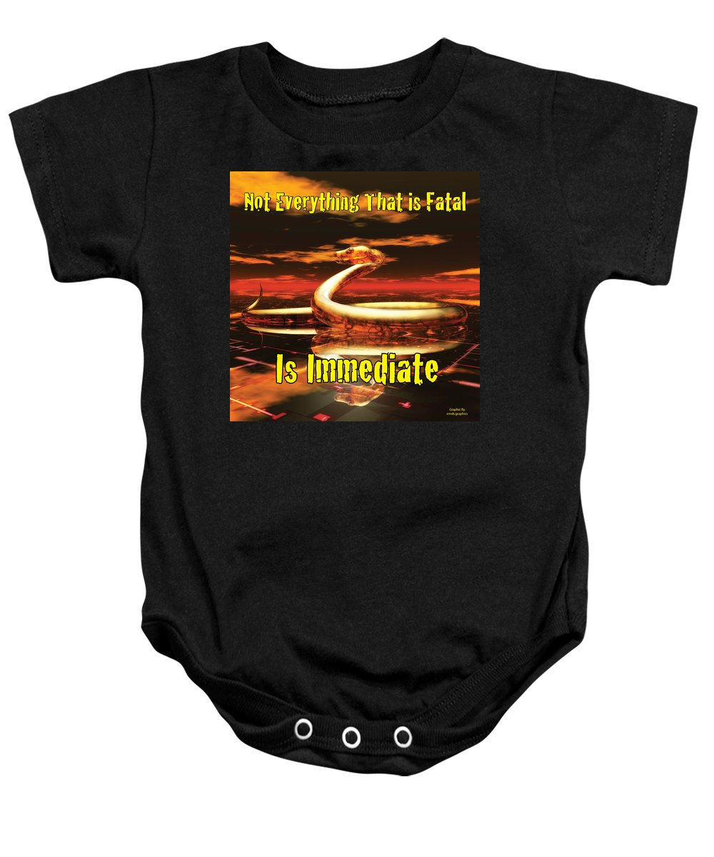 Graphic Baby Onesie featuring the photograph Not Everything That Is Fatal Is Immediate by John Tarr Photography Visual Adventurer