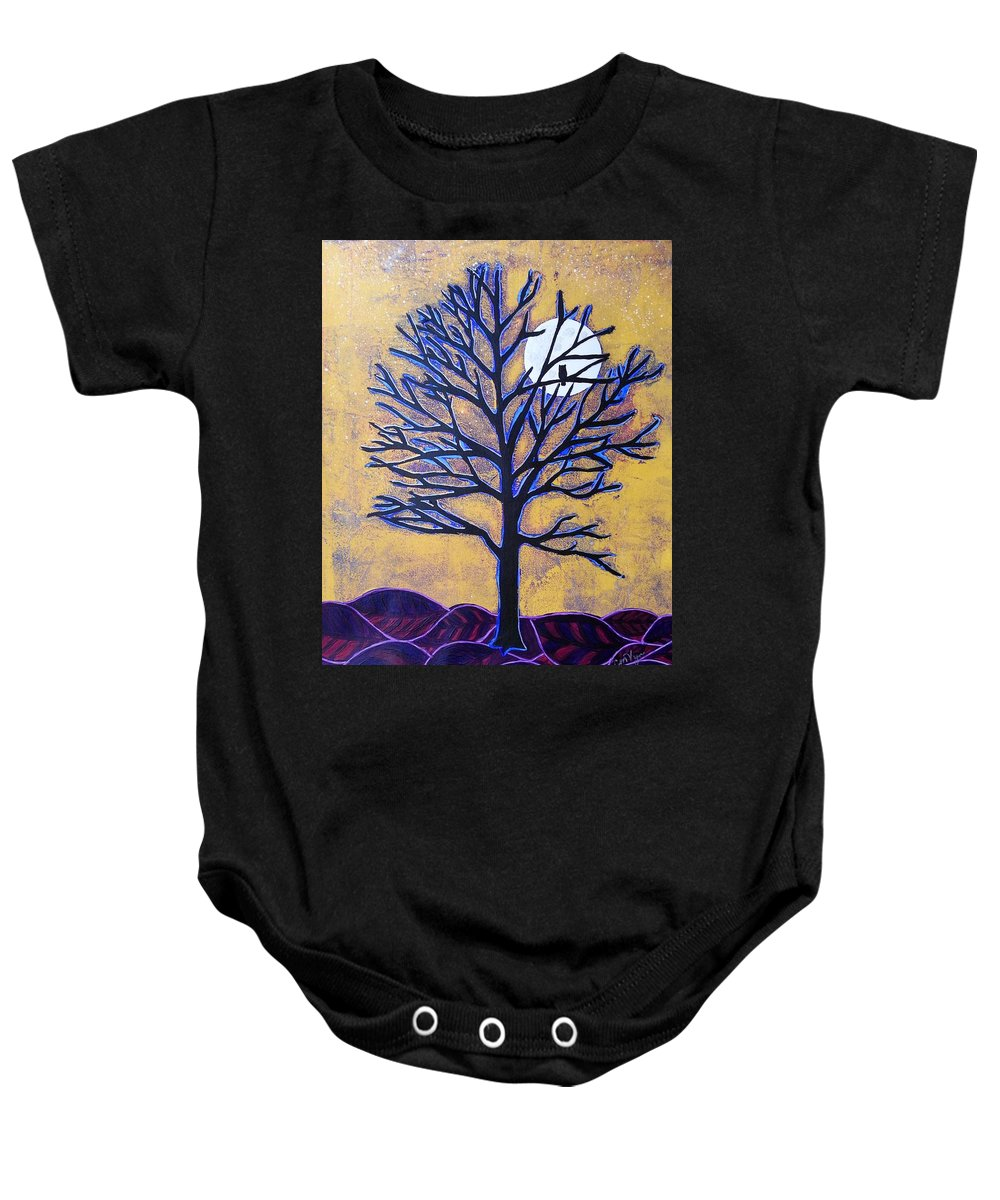 Autumn Baby Onesie featuring the painting November Moon Flash by Michelle Vyn