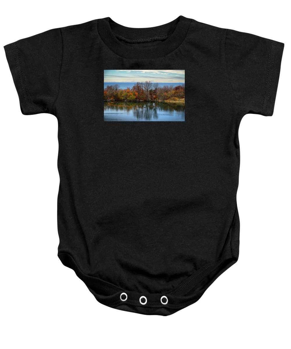 Landscape Baby Onesie featuring the photograph November Reflections by Lilia D