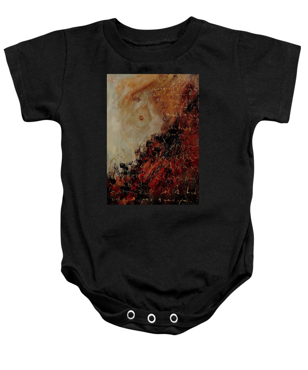Girl Baby Onesie featuring the painting Nude Coming Out Of Abstraction by Pol Ledent