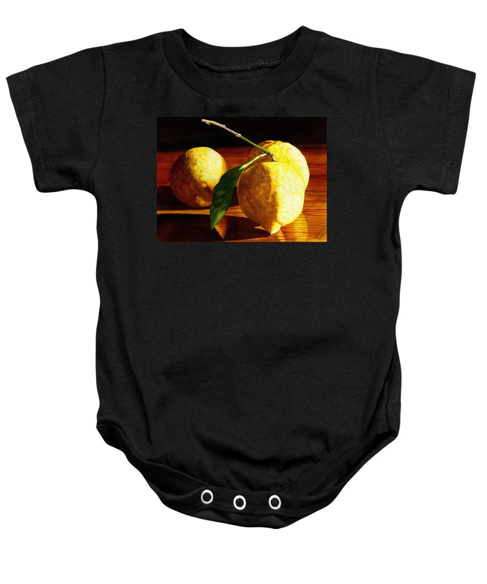 Lemon Baby Onesie featuring the painting Nurse Beckys Lemons by Catherine G McElroy