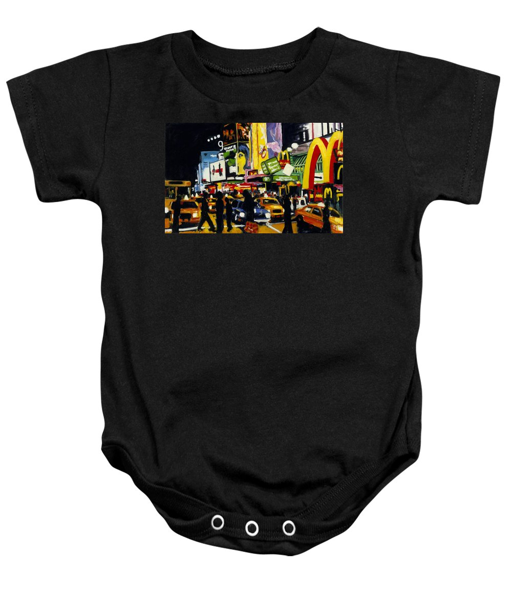 New York Baby Onesie featuring the painting Nyc II The Temple Of M by Robert Reeves