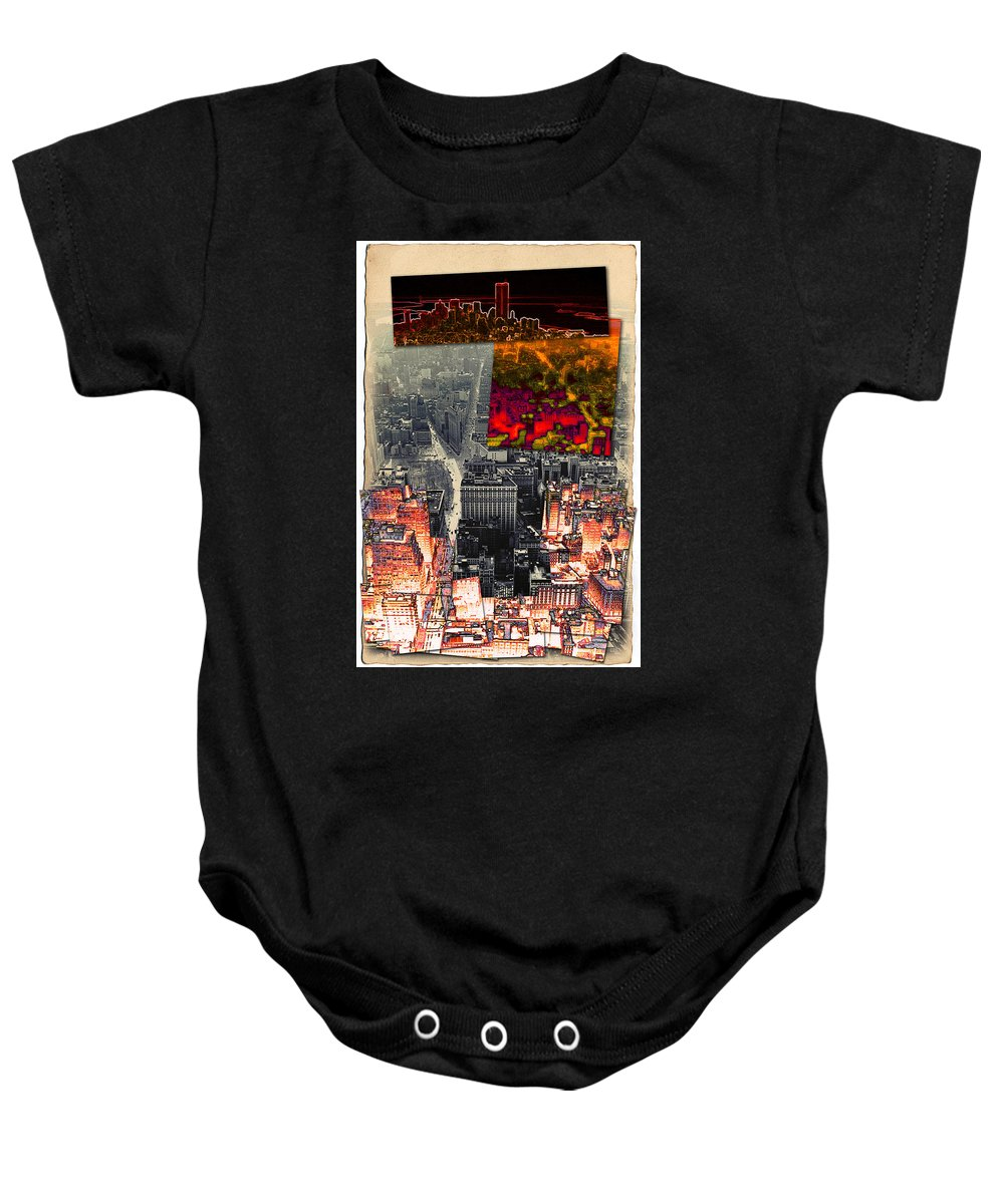 New York City Baby Onesie featuring the photograph Nyc Papercut No.2 by Steven Hlavac