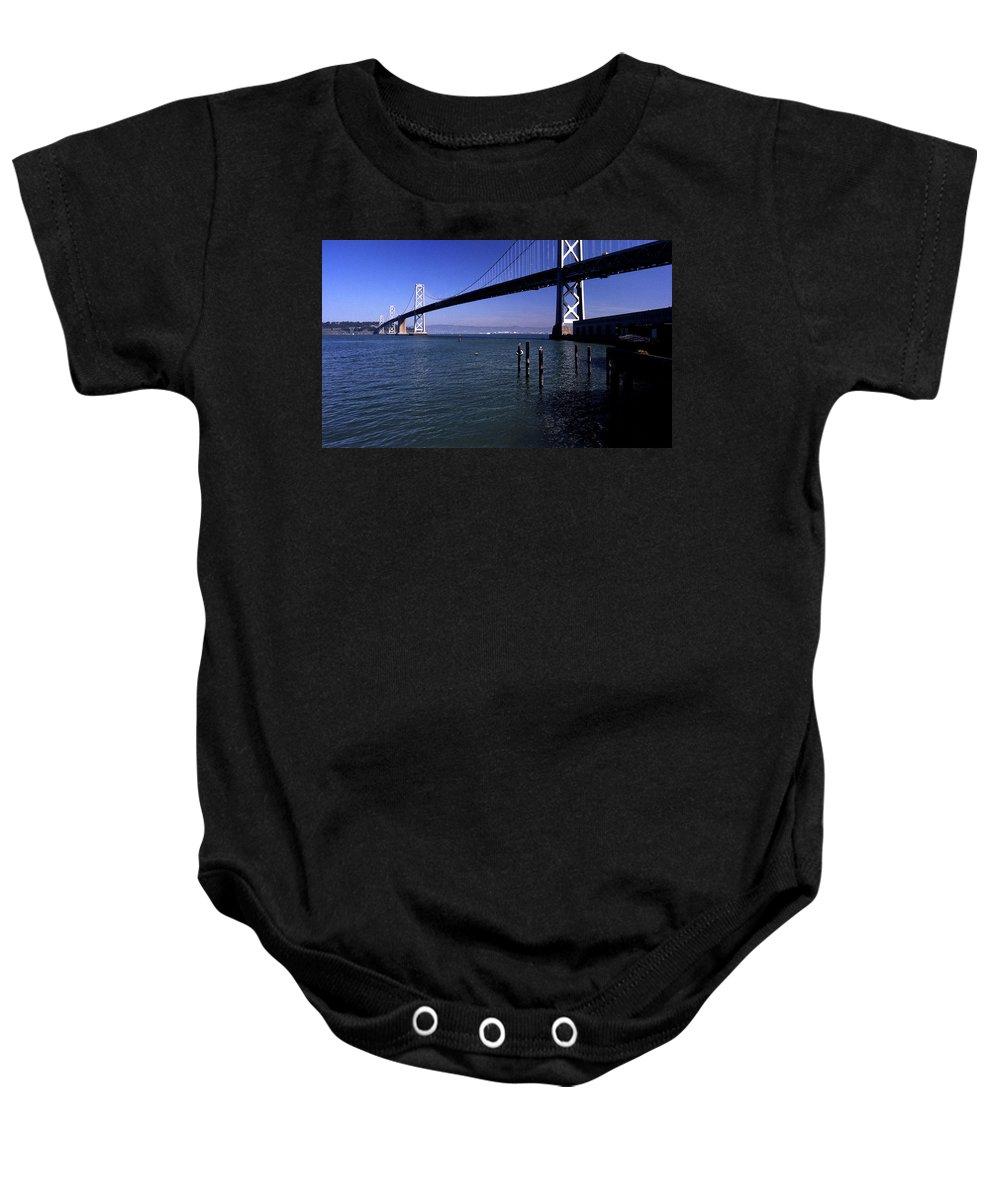 San Francisco Baby Onesie featuring the photograph Oakland Bay Bridge 1985 by Lee Santa