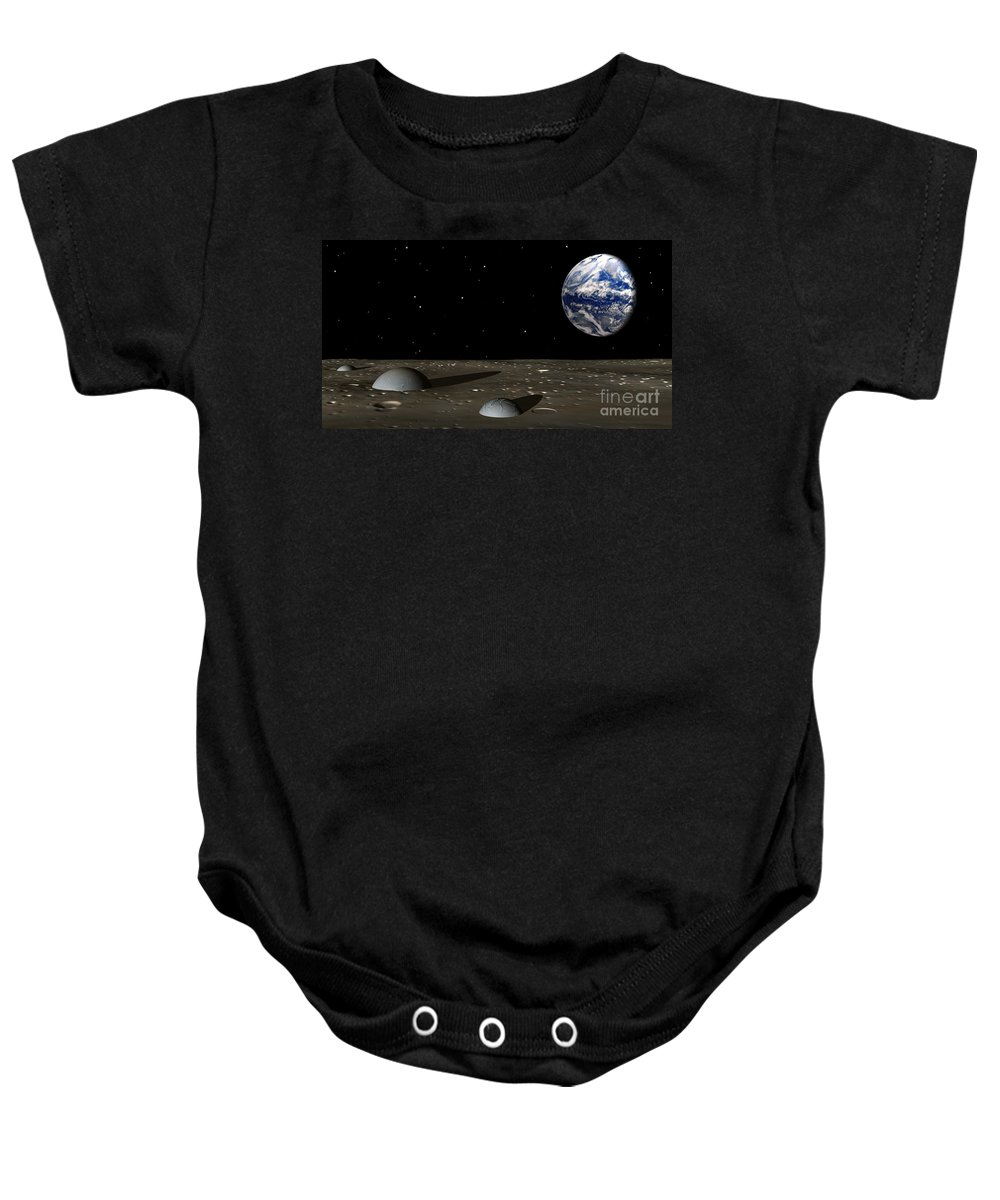 Moon Baby Onesie featuring the digital art Observing Mom by Richard Rizzo