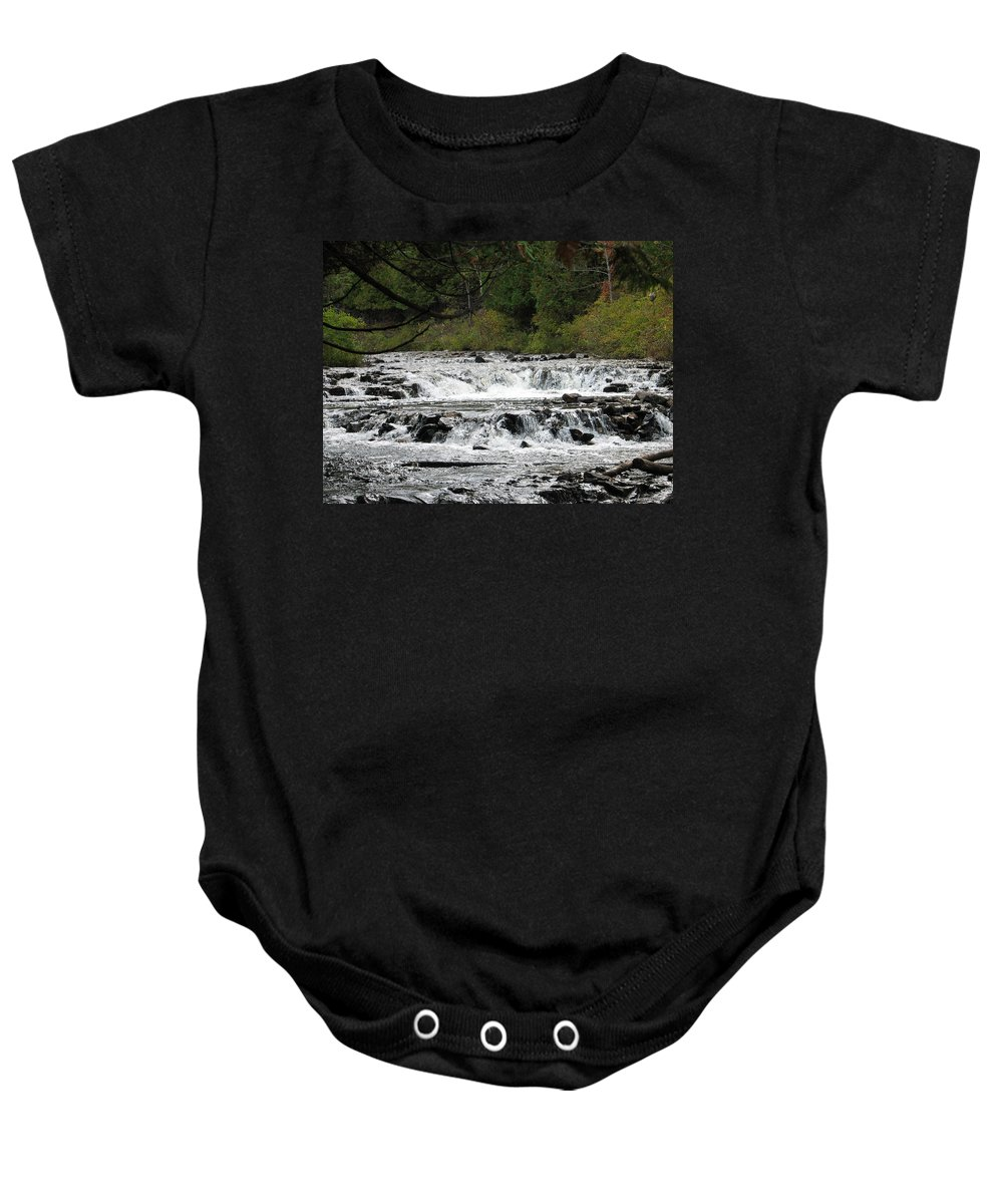 Waterfall Baby Onesie featuring the photograph Ocqueoc by Kelly Mezzapelle