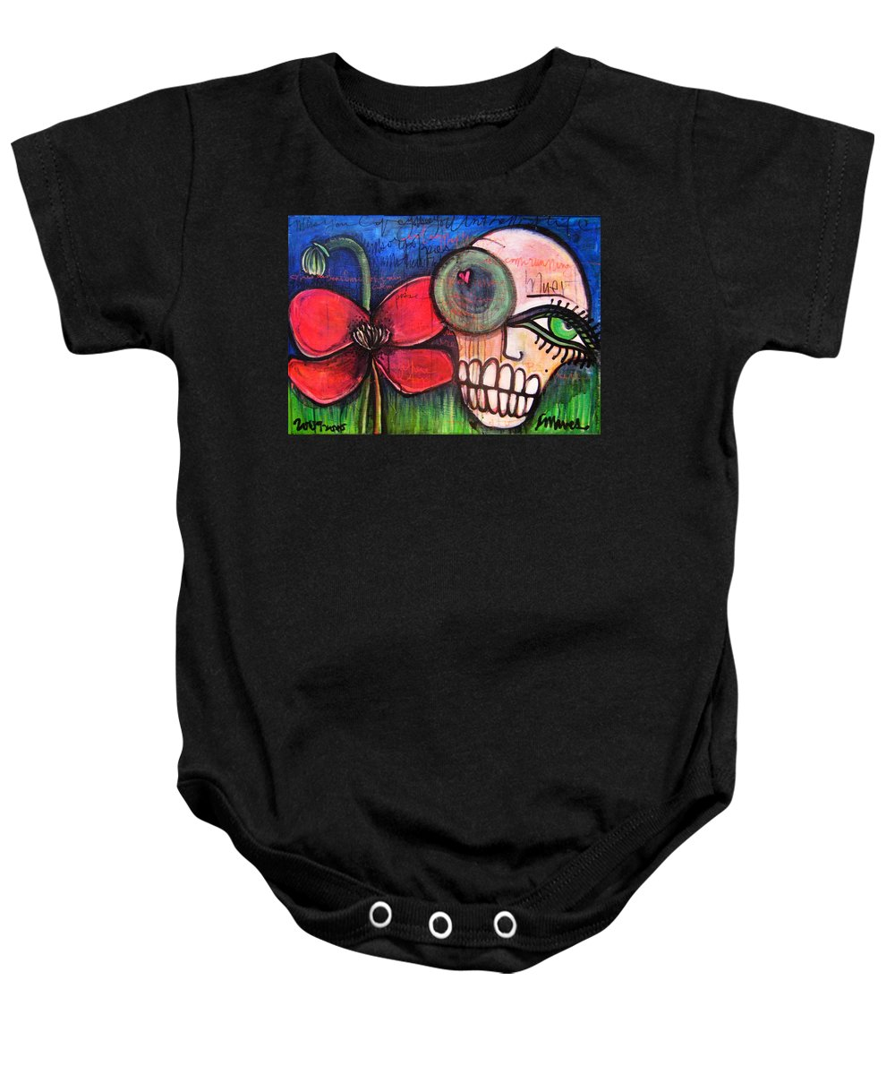 Skulls Baby Onesie featuring the painting Ode To Kings by Laurie Maves ART