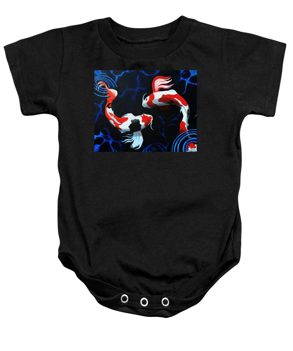 Koi Baby Onesie featuring the painting Odori by D Turner
