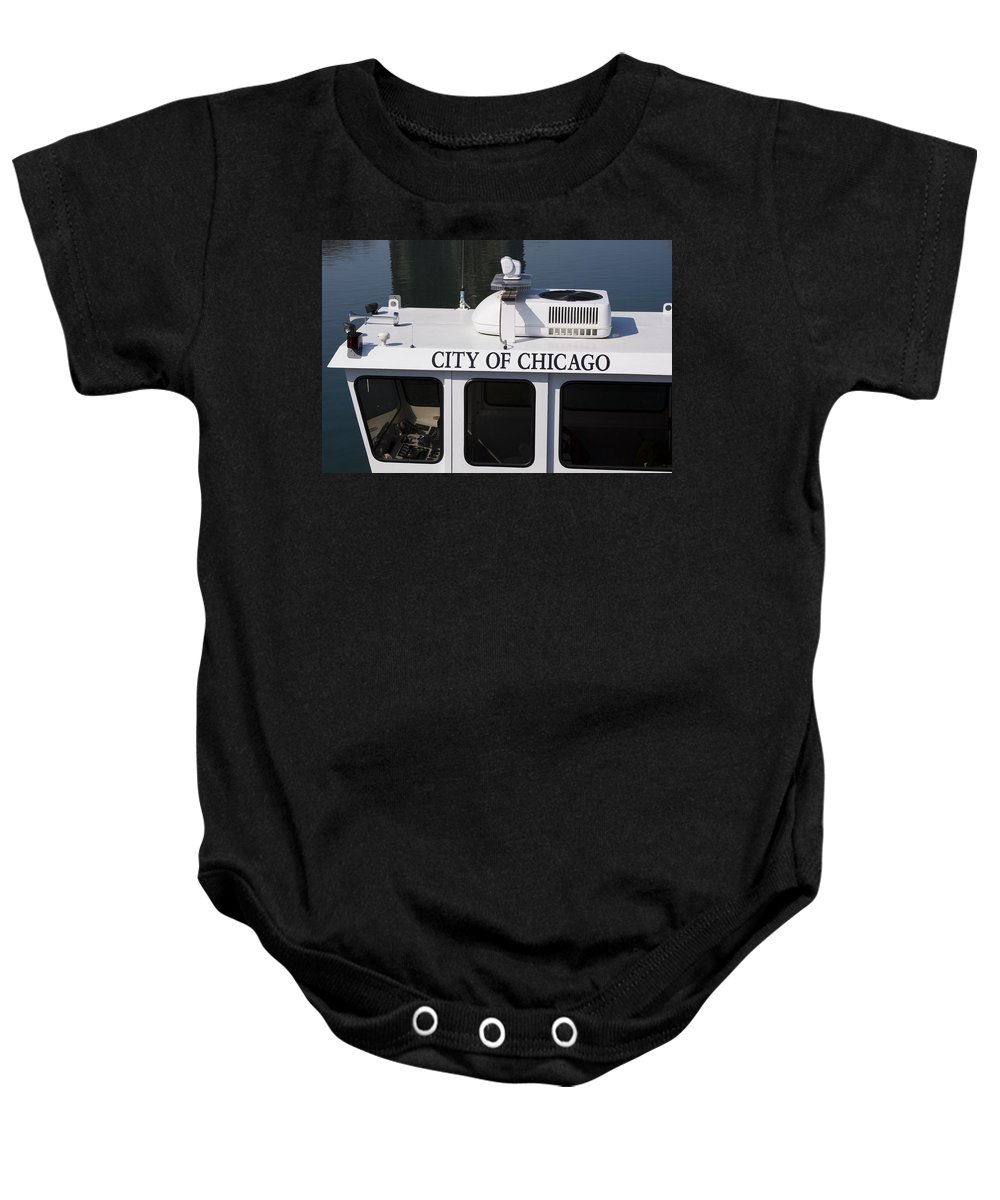 Chicago Windy City Police Boat Lake Michigan Water White Baby Onesie featuring the photograph Off Duty by Andrei Shliakhau