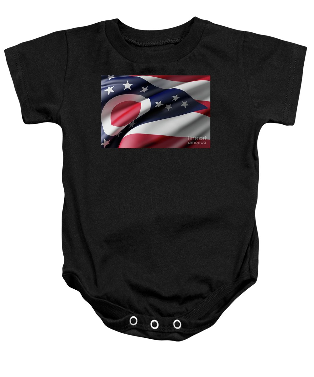 Ohio Baby Onesie featuring the digital art Ohio State Flag by Enrique Ramos Lopez