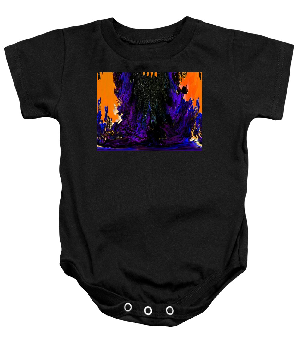 Abstract Baby Onesie featuring the digital art Oil Spill by Lenore Senior