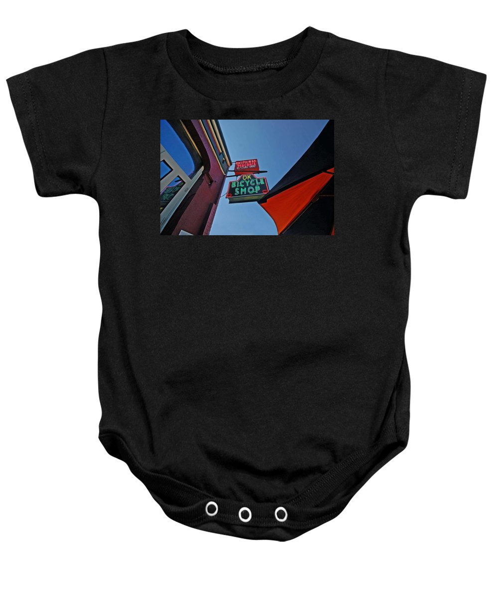 Mobile Baby Onesie featuring the digital art Ok Bicycle Umbrella by Michael Thomas