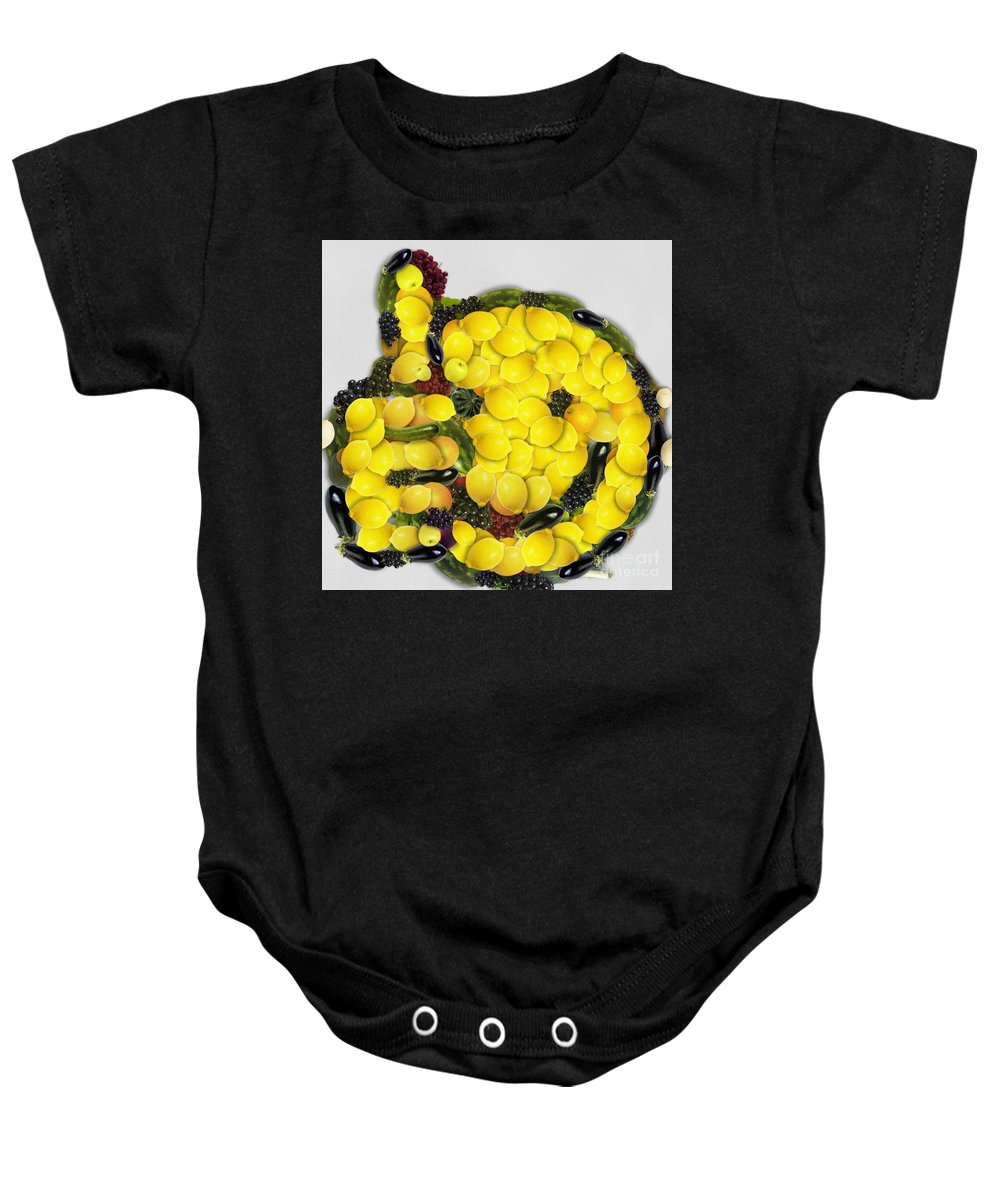 Okee Dokee Vegged Out Baby Onesie featuring the digital art Okee Dokee Vegged Out by Catherine Lott
