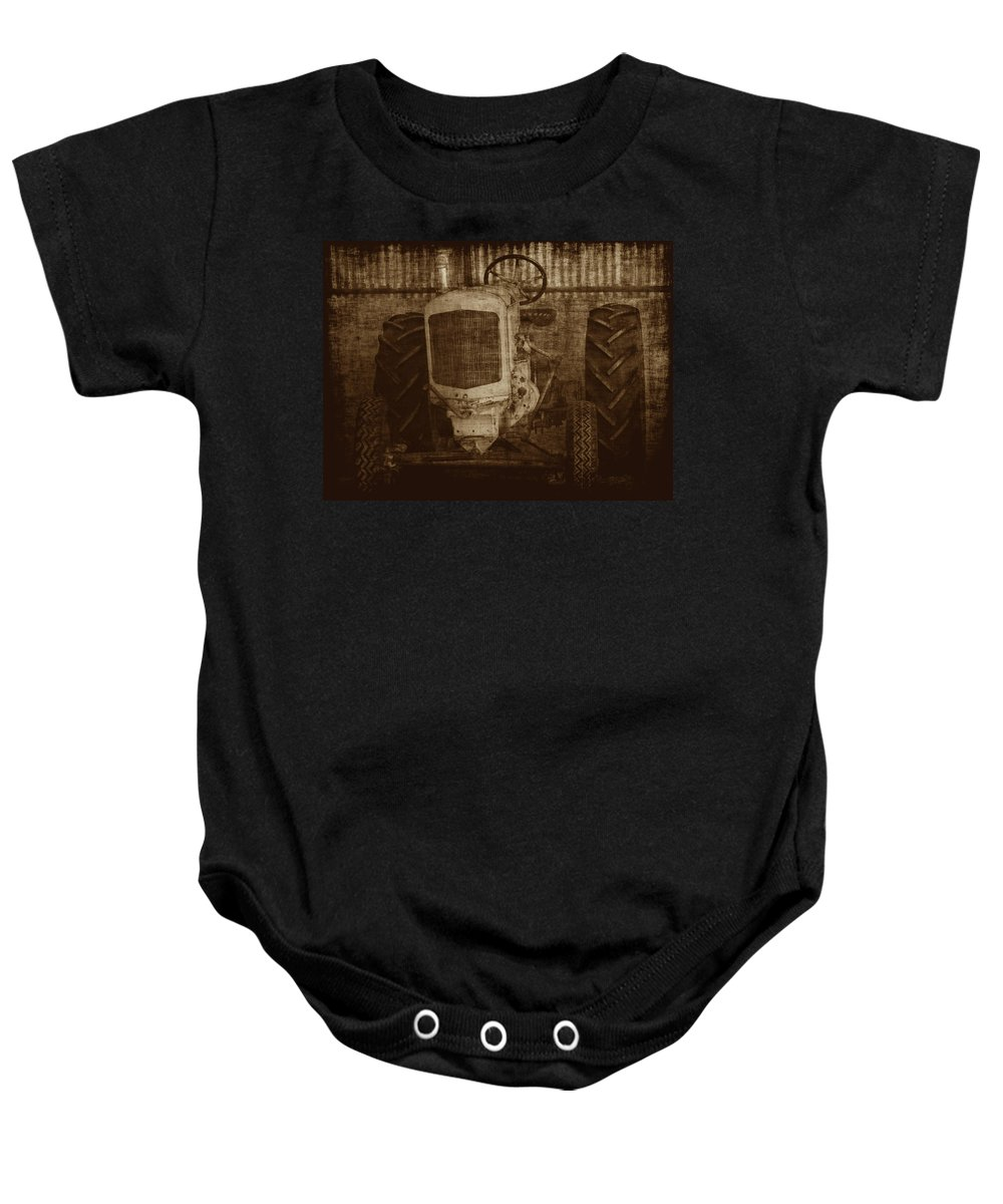 Crank Tractors Baby Onesie featuring the photograph Ol Yeller In Sepia by Ernie Echols
