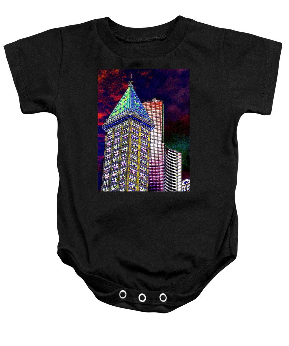 Seattle Baby Onesie featuring the photograph Old And New Seattle 2 by Tim Allen
