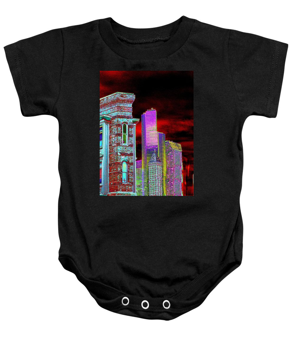 Seattle Baby Onesie featuring the digital art Old and New Seattle by Tim Allen