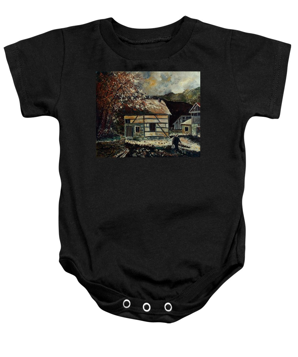 Village Baby Onesie featuring the painting Old Ardennes 56 by Pol Ledent