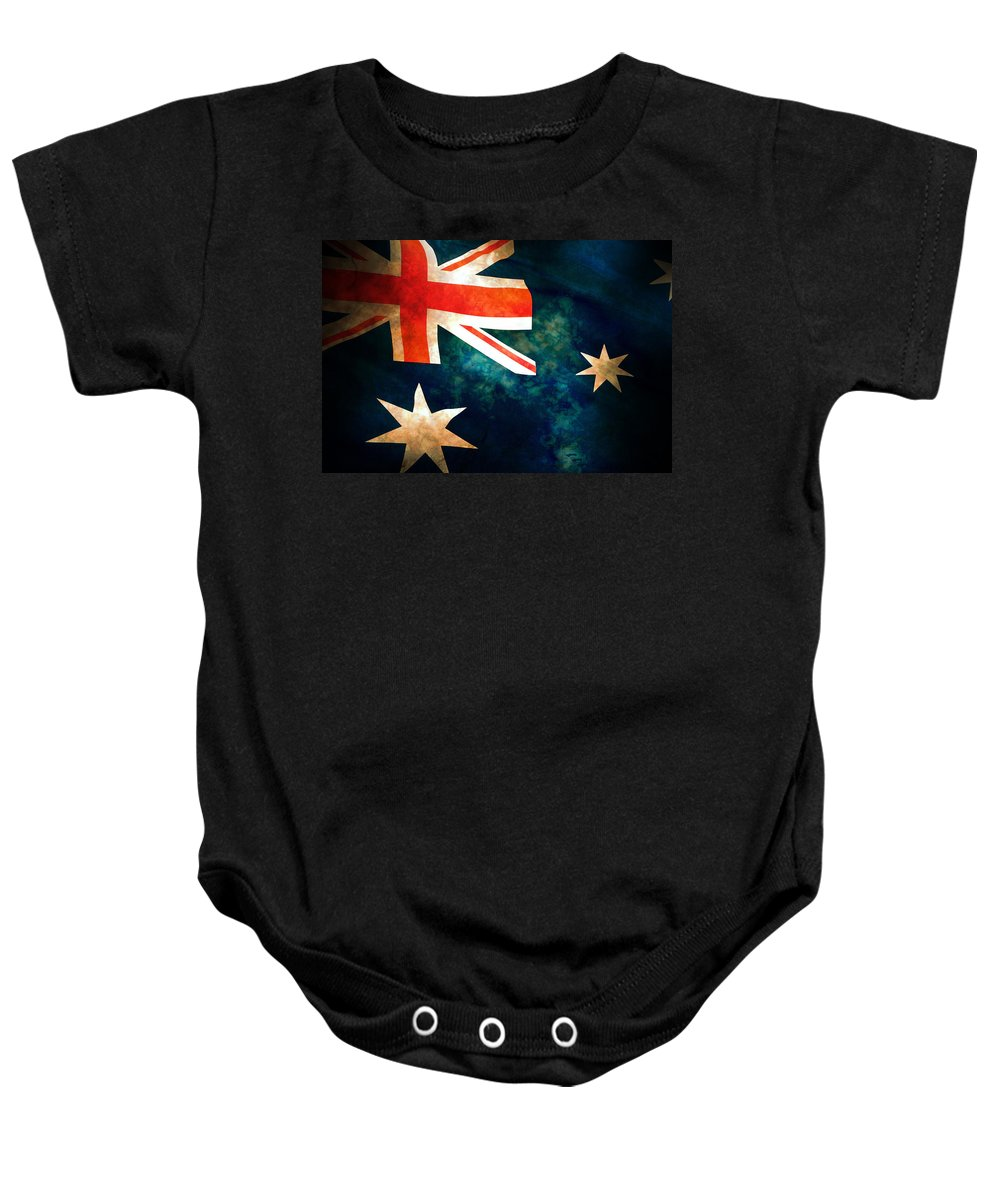 Australia Baby Onesie featuring the photograph Old Australian Flag by Phill Petrovic